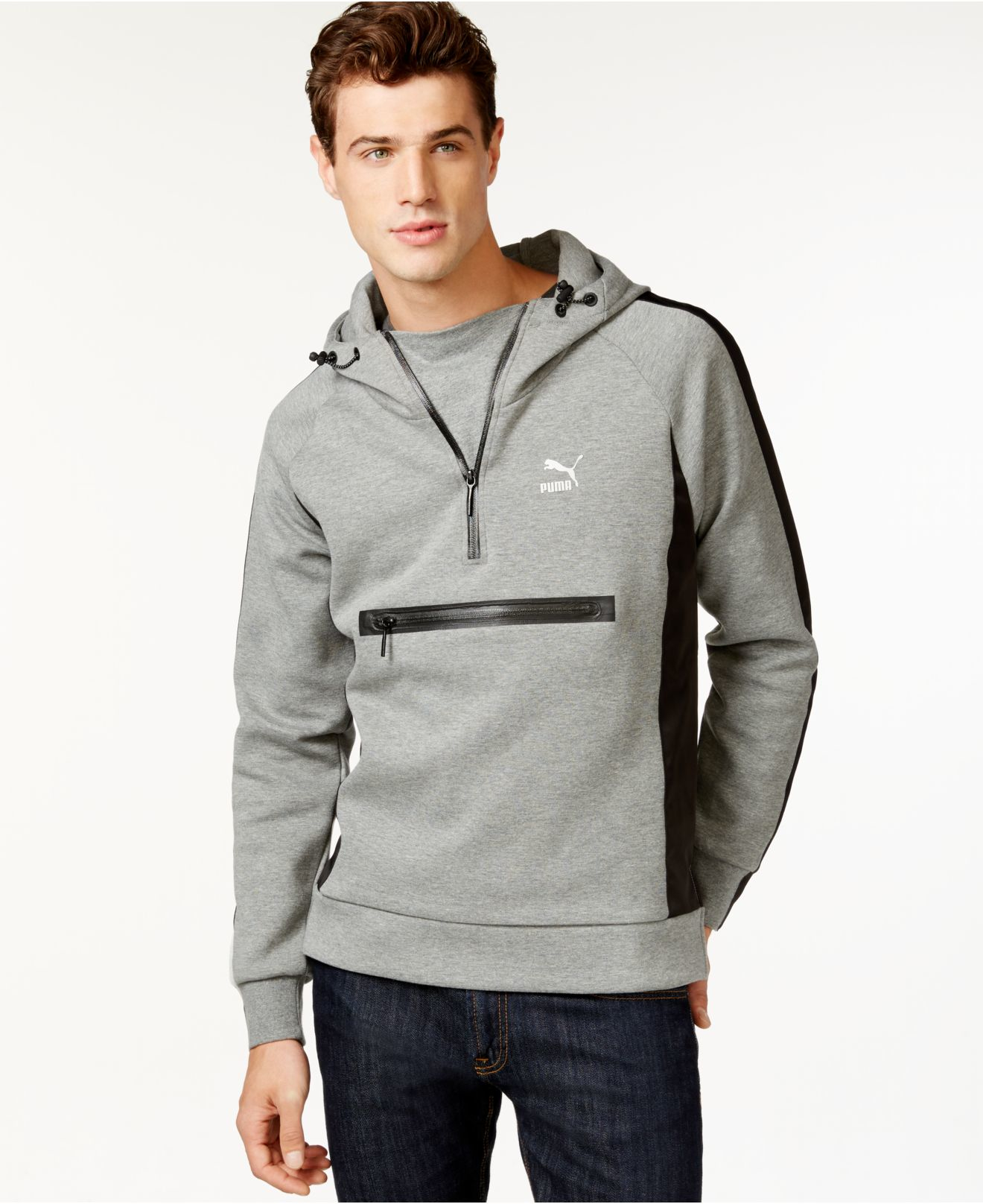 puma men 39 s evo savannah half zip pullover hoodie in gray. Black Bedroom Furniture Sets. Home Design Ideas