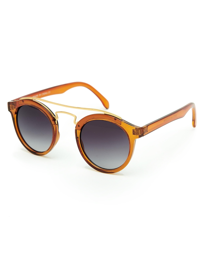 Asos Plastic Round Sunglasses with Metal Brow Bar in Brown ...