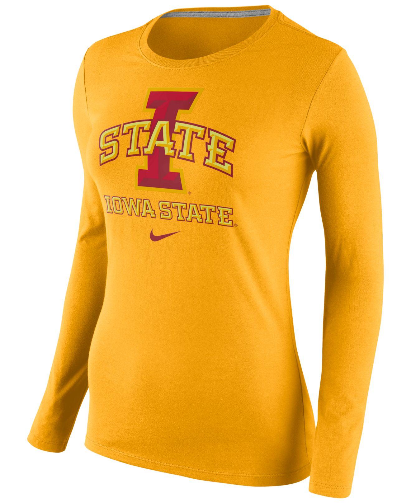 Nike womens long sleeve iowa state cyclones logo t shirt for Womens yellow long sleeve shirt