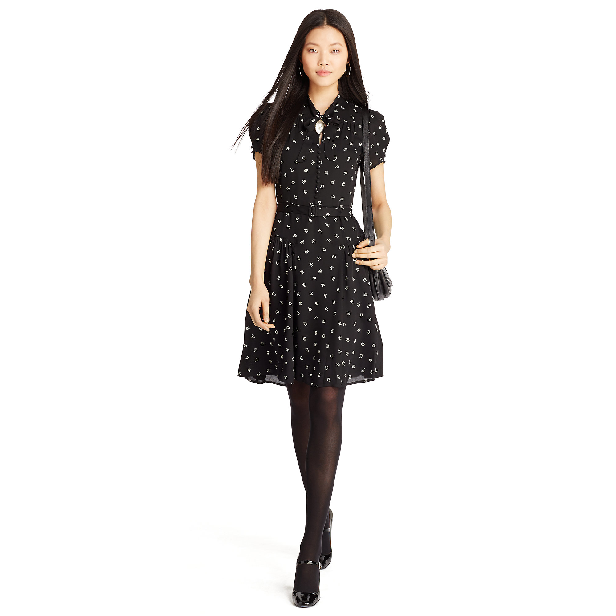 Lyst - Polo Ralph Lauren Floral-print Belted Dress in Black 8ae6d3bebe