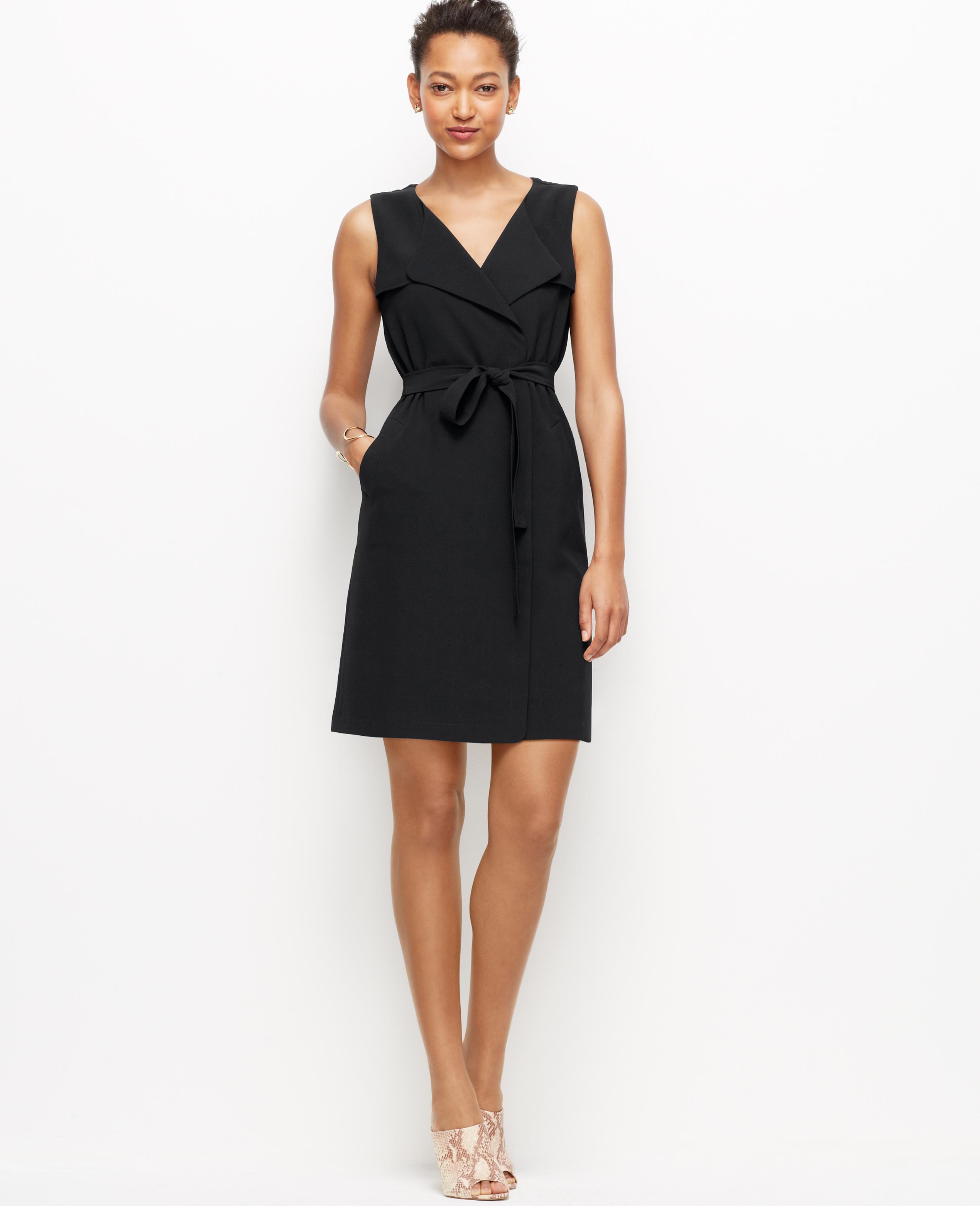 d31d937b3bff Ann Taylor Trench Wrap Dress in Black - Lyst