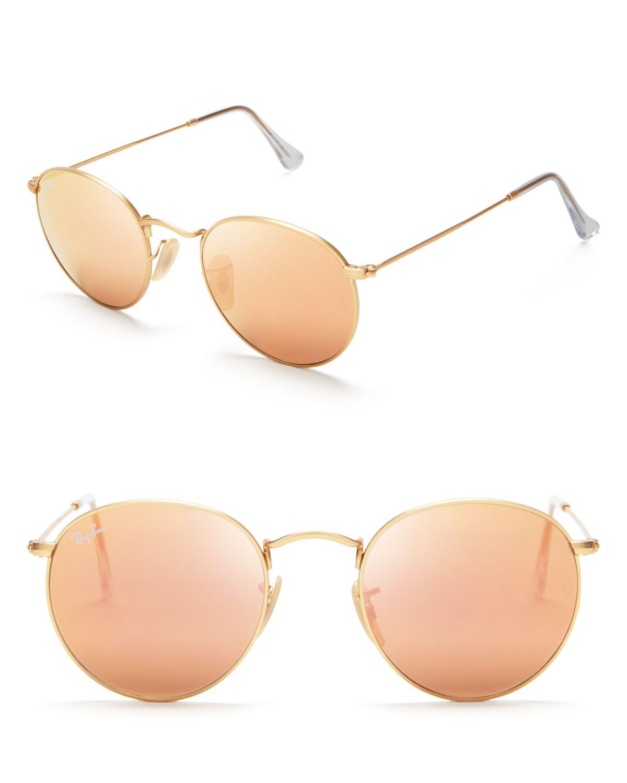 Ray Ban Round Mirror Sunglasses In Gold Matte Gold Mirror