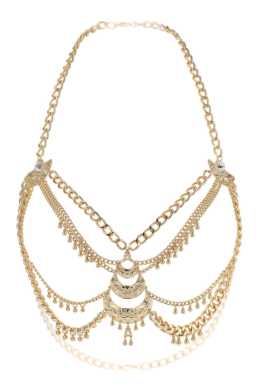 Lyst Topshop Chain Bra Body Chain In Metallic
