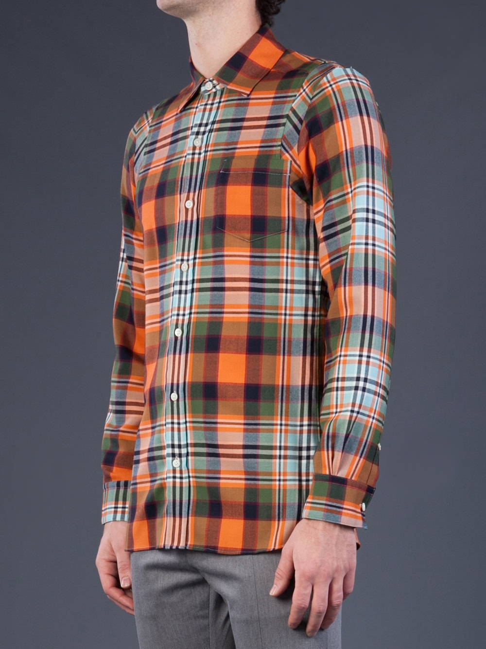 Lyst Facetasm Long Sleeve Plaid Shirt In Orange For Men