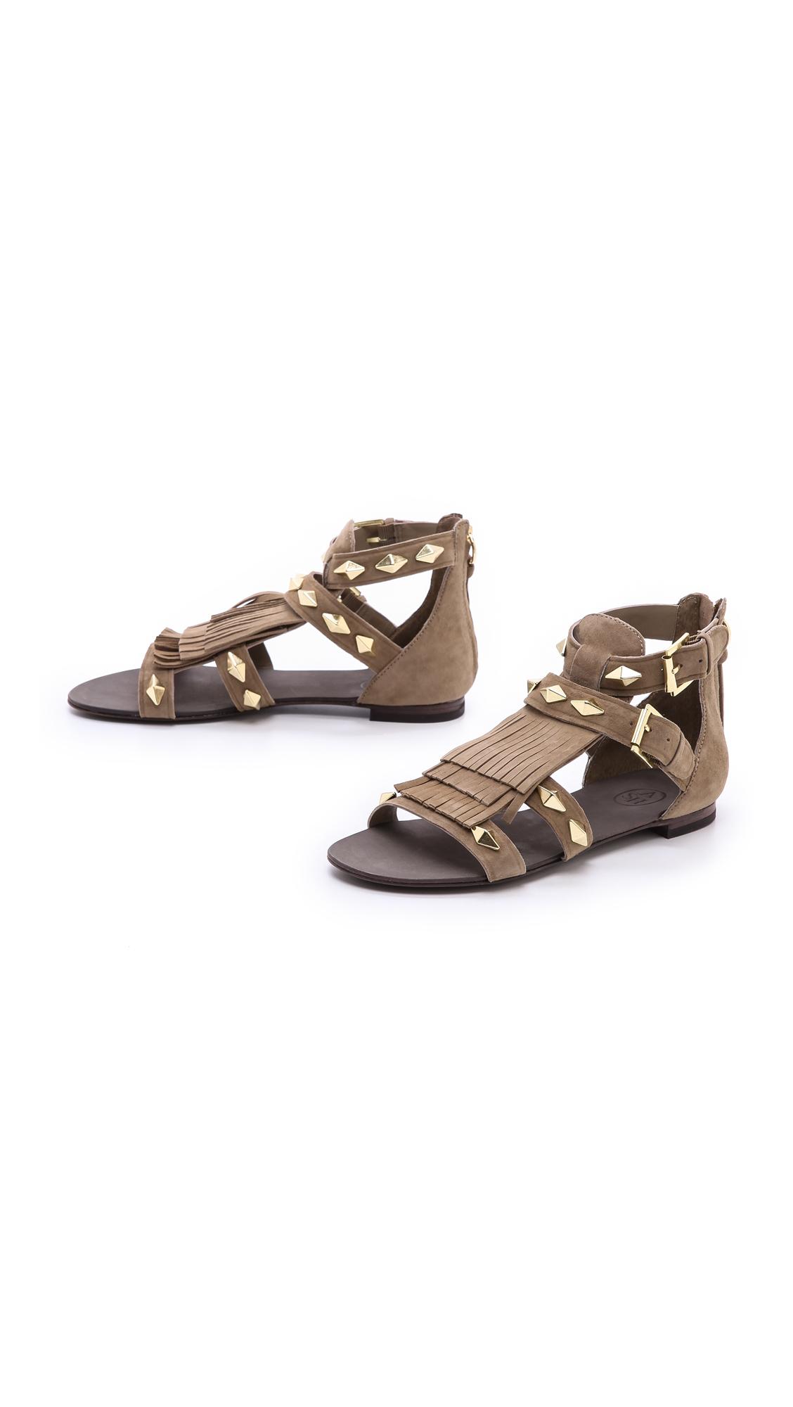 927fd9534 Lyst - Ash Mascara Fringe Flat Sandals in Gray
