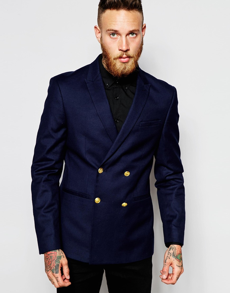 Mens Blue Double Breasted Suit Dress Yy