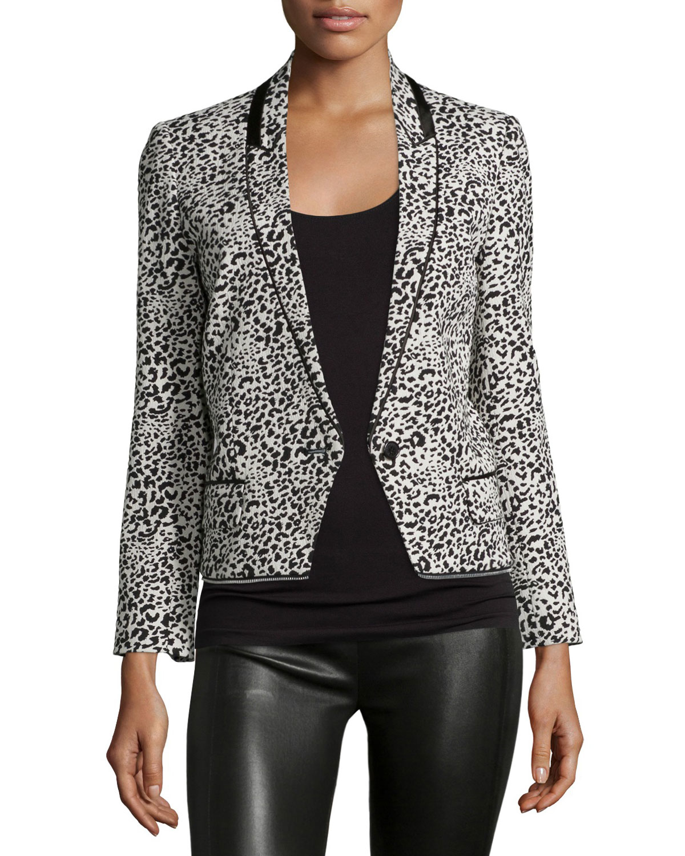 Zadig Amp Voltaire Leopard Jacquard Blazer In Gray Lyst