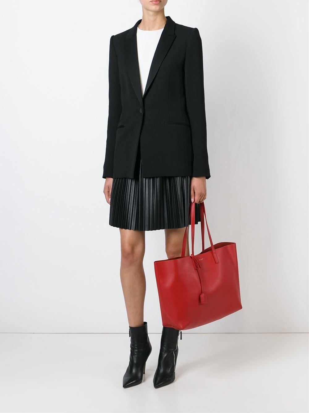 saint laurent large shopper tote in red lyst. Black Bedroom Furniture Sets. Home Design Ideas