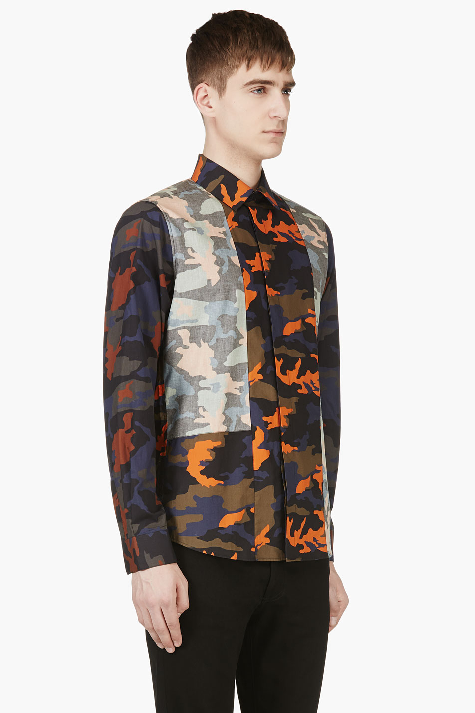 Givenchy Navy And Orange Camo Button Down Shirt In Blue