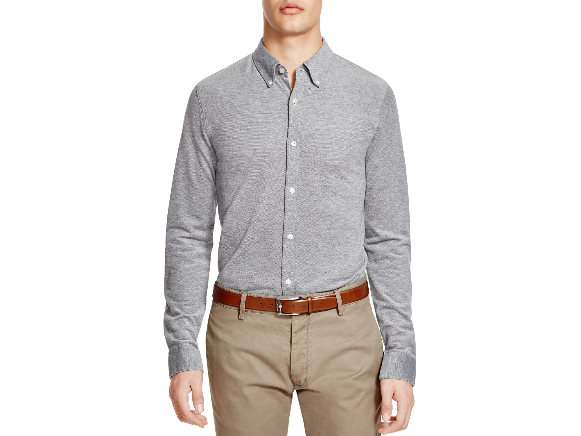 Lyst brooks brothers pique knit regular fit button down for Brooks brothers dress shirt fit