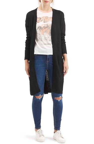 Topshop 'lulu' Belted Longline Cardigan in Black | Lyst