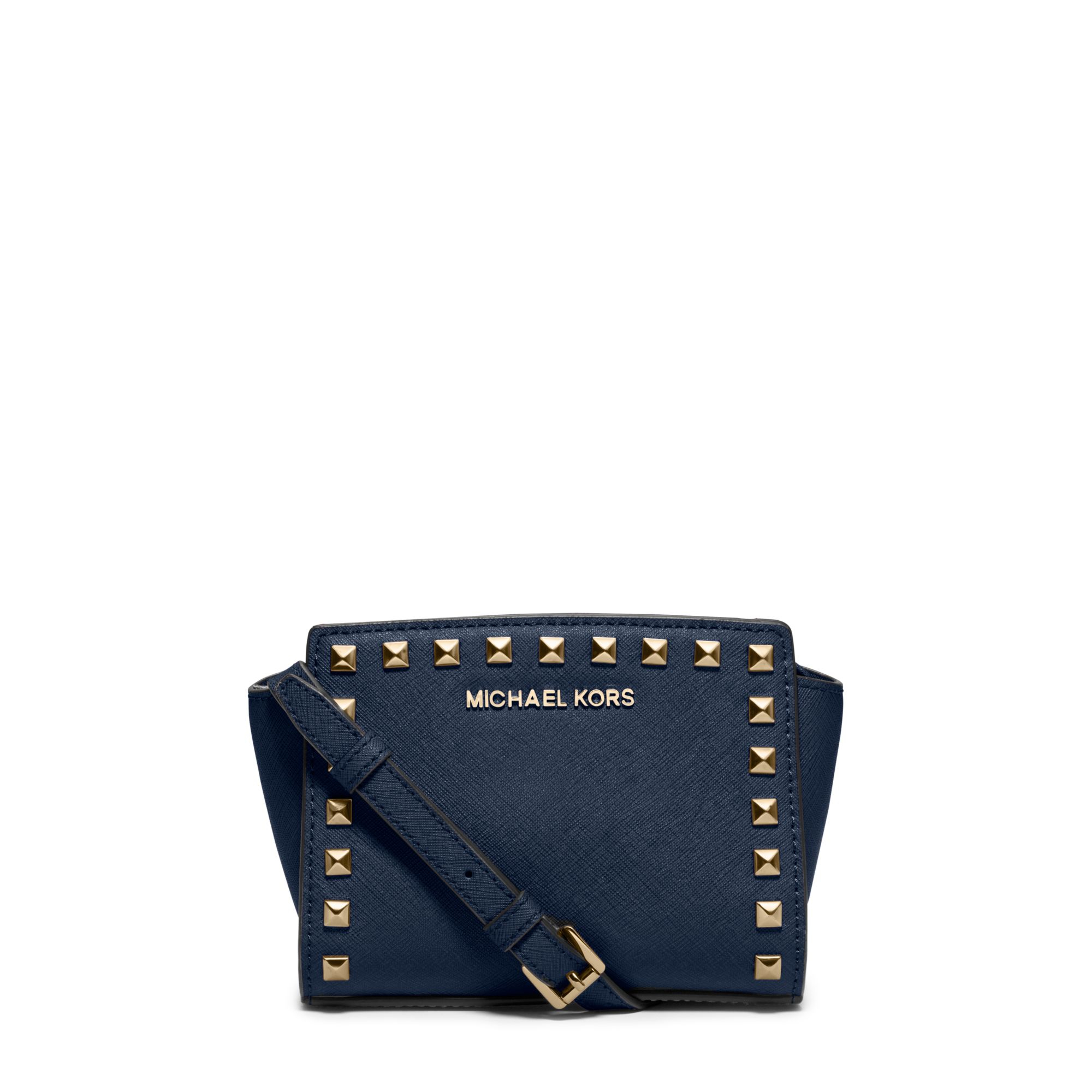 b194ac642115 Lyst - Michael Kors Selma Mini Studded Leather Crossbody in Blue