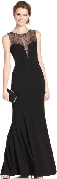 Xscape Sleeveless Beaded Illusion Lace Gown In Black Lyst