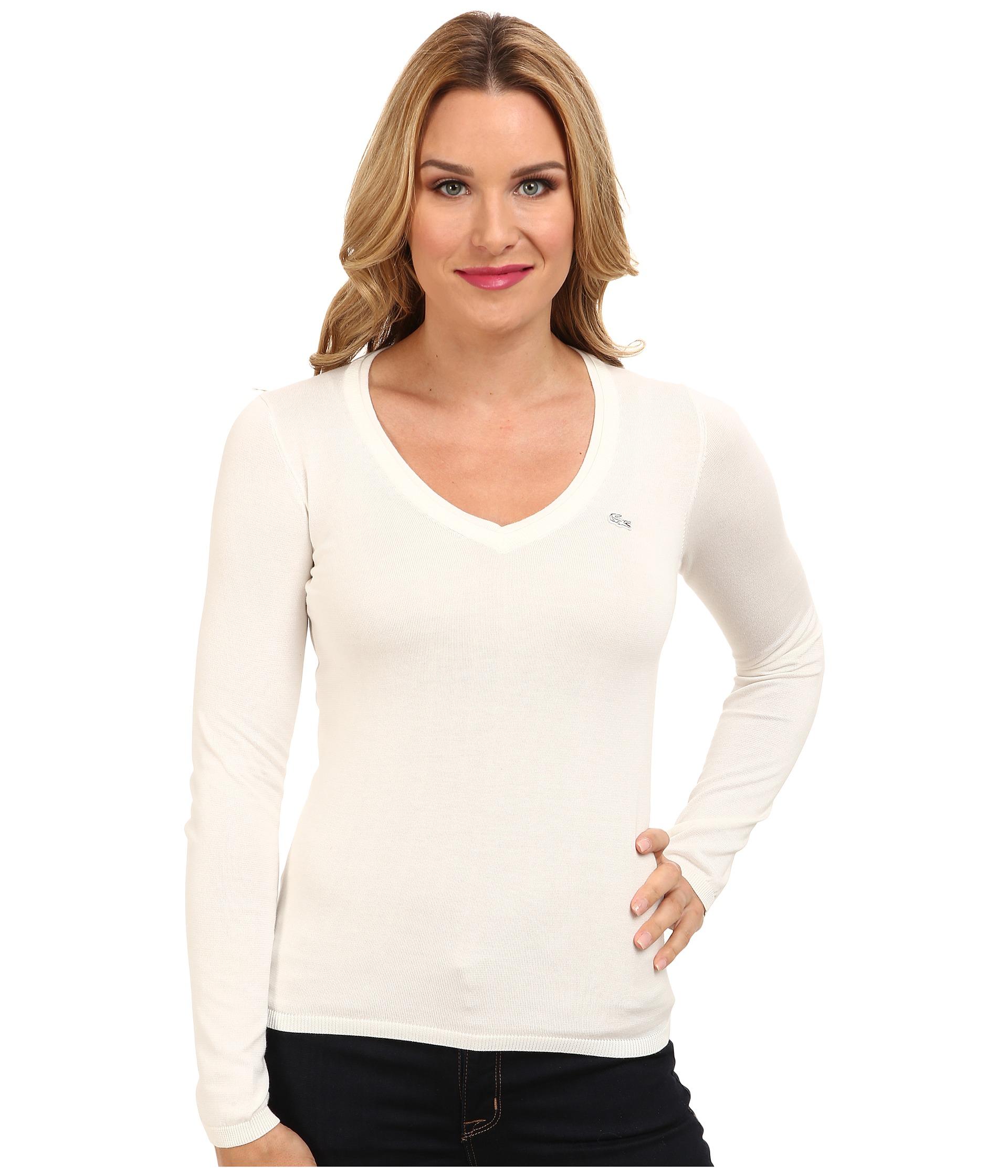 f9afb0ea4b1 Lacoste Women Long Sleeve Cotton Double Overlay V-Neck Sweater Damenmode  Black SALE