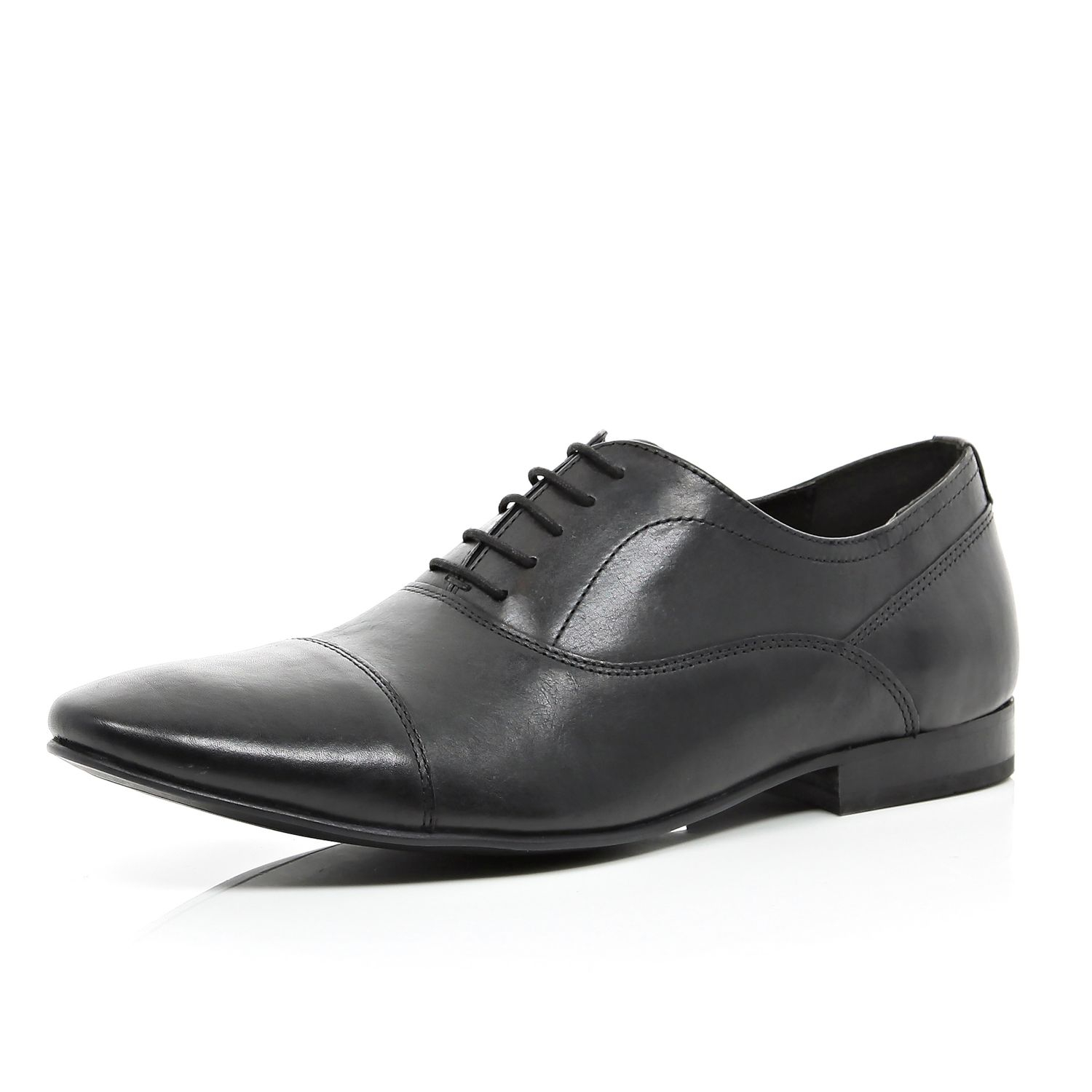 river island black leather lace up formal shoes in black