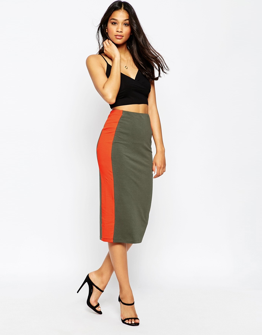 9889f13bd ASOS Side Stripe Pencil Skirt In Colour Block in Red - Lyst