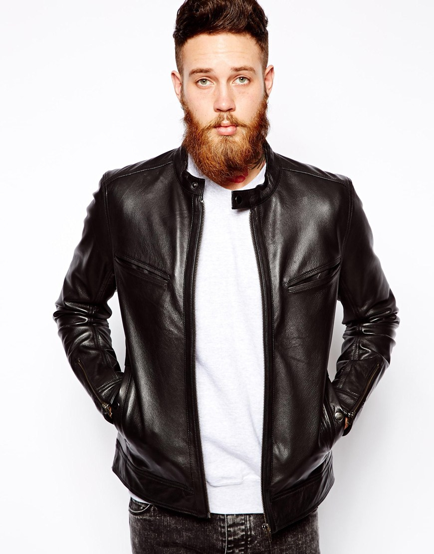 Lyst - Asos Leather Biker Jacket in Black for Men