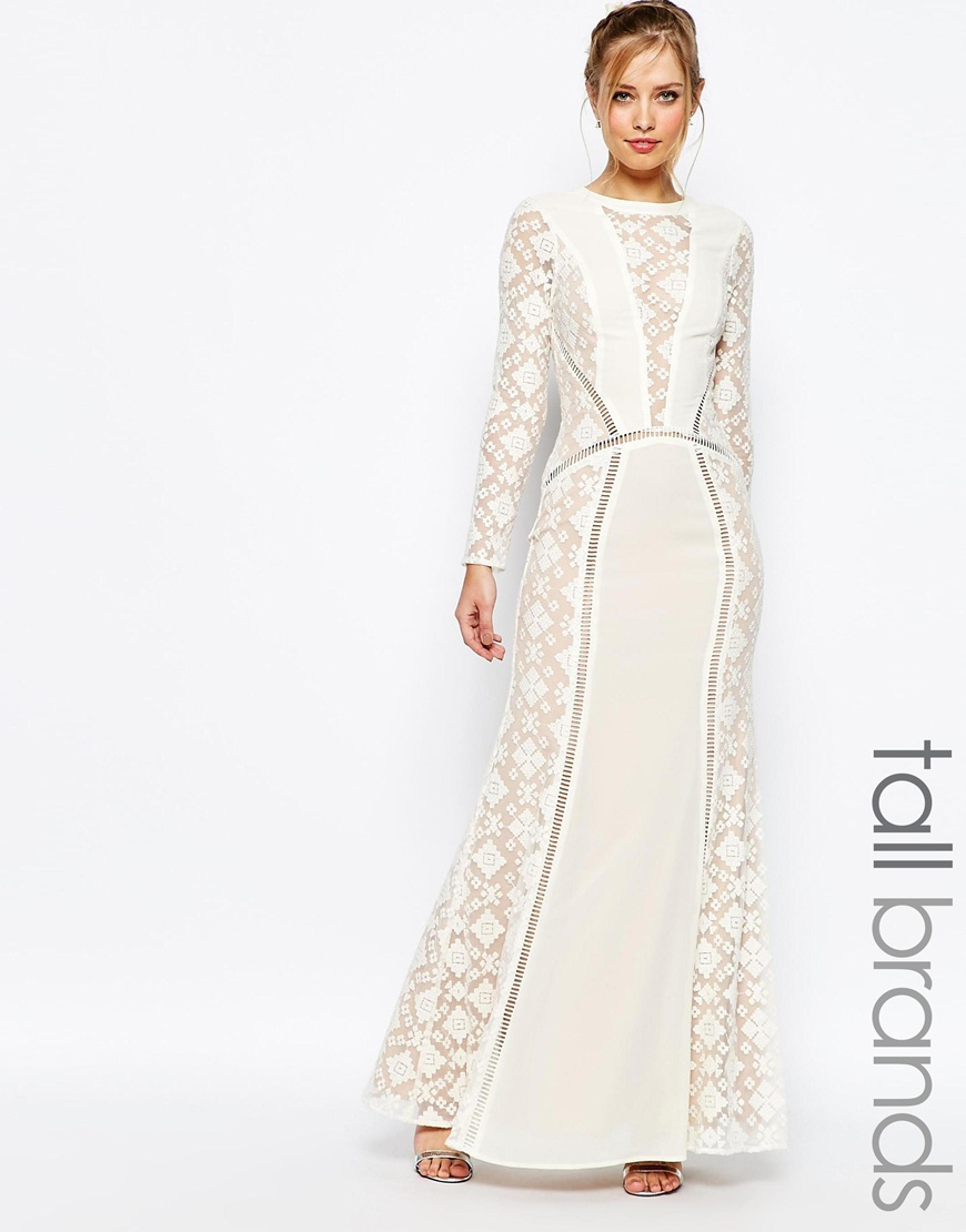 Lyst - Jarlo Long Sleeved V Neck Maxi Dress With Lace Panels - Cream ...