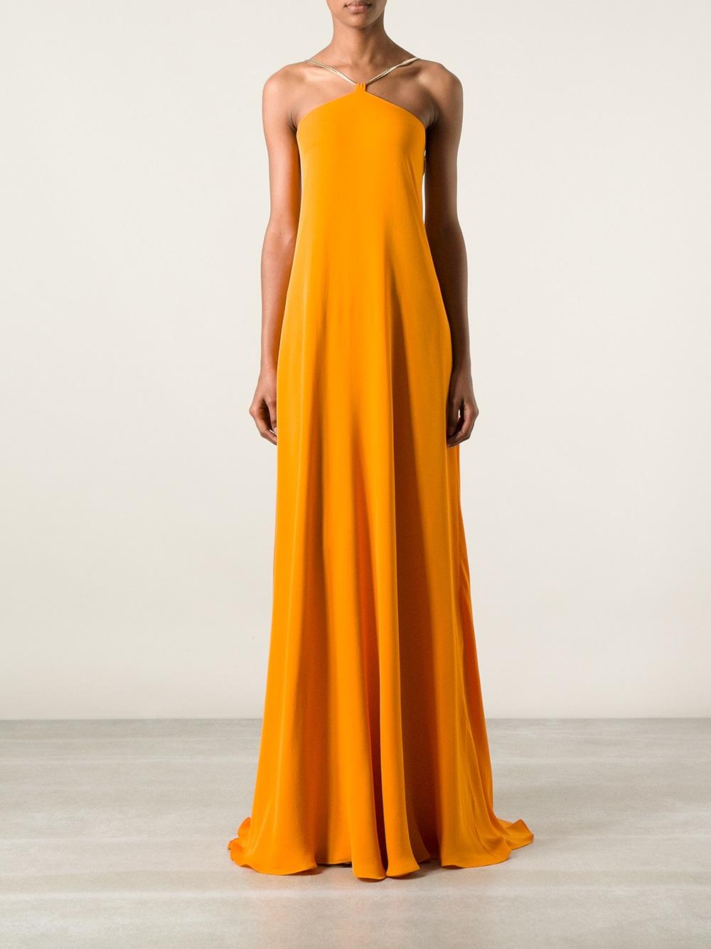Lyst - Plein Sud Backless Evening Gown in Orange