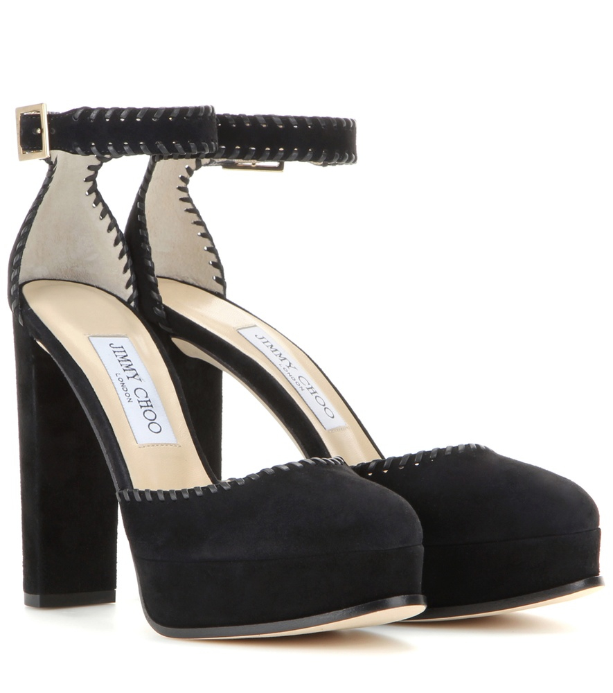 a6b55ea8c0095f Lyst - Jimmy Choo Daphne 120 Platform Suede Sandals in Black