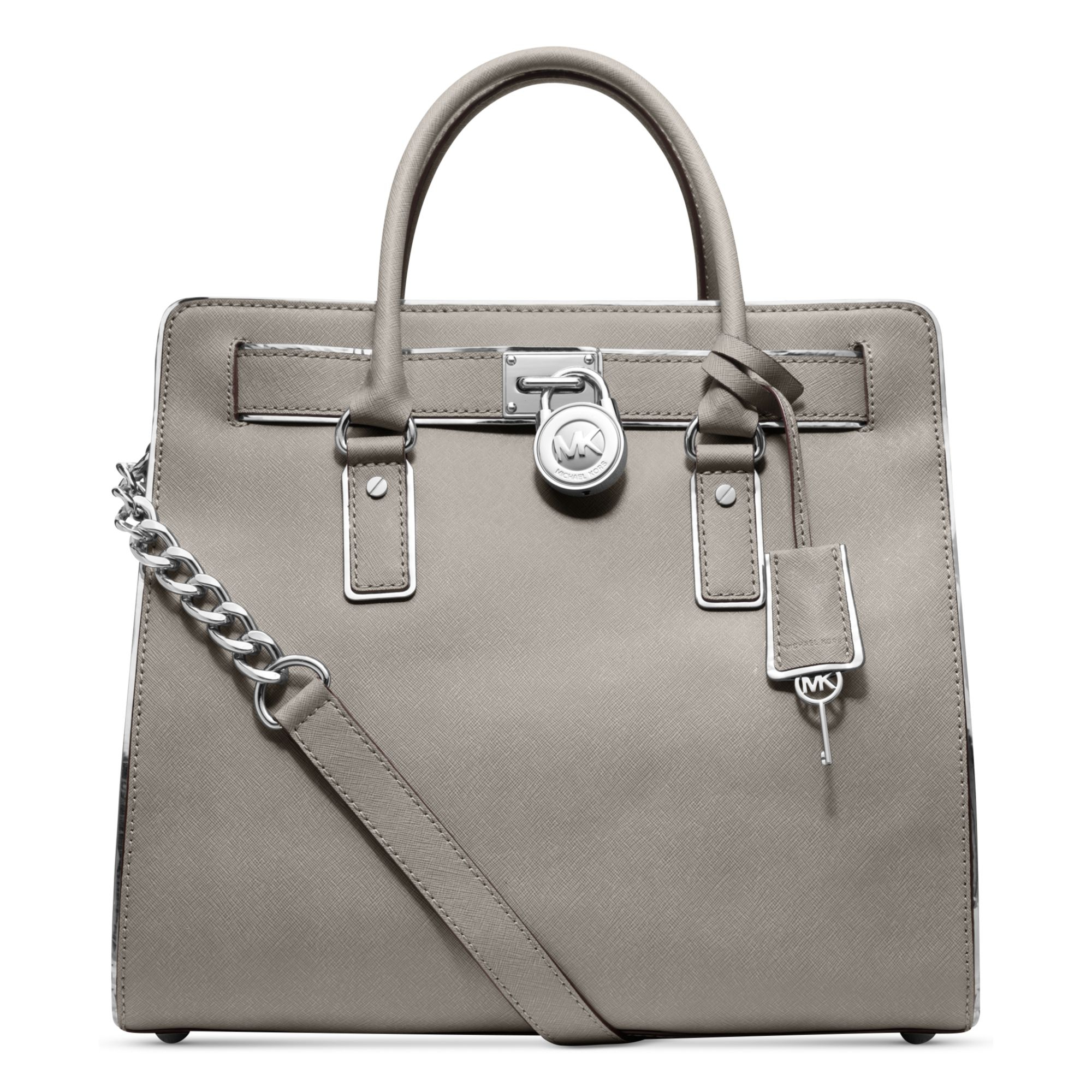 lyst michael kors hamilton specchio large north south tote in gray. Black Bedroom Furniture Sets. Home Design Ideas