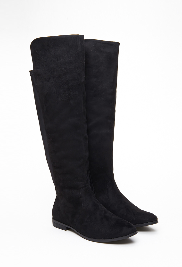 Forever 21 Knee-high Faux Suede Boots in Black | Lyst