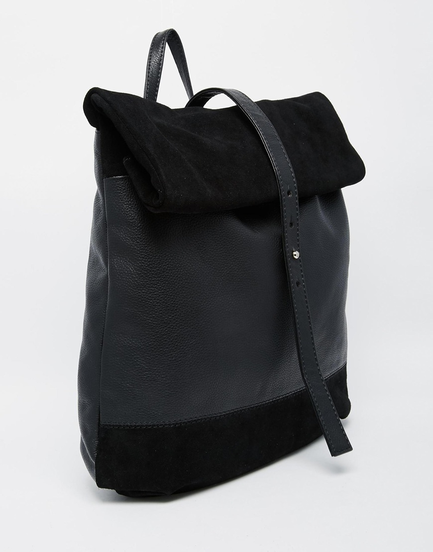 Asos Suede And Leather Roll Top Backpack in Black | Lyst