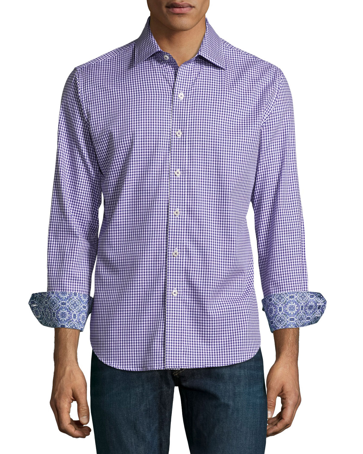 Robert Graham Poison Houndstooth Sport Shirt In Purple For