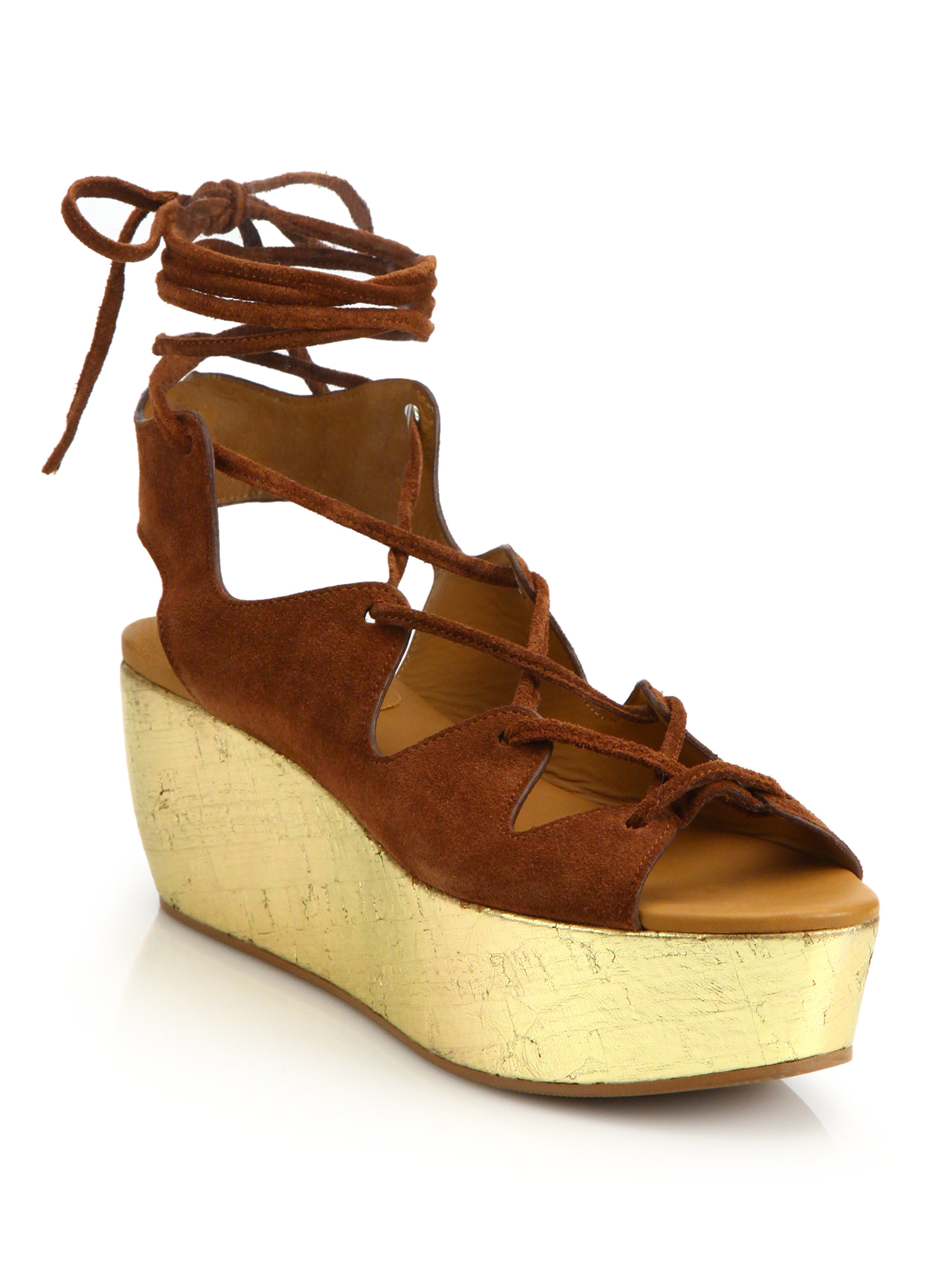 ab51b94bd749 Lyst - See By Chloé Liana Suede Lace-up Platform Wedge Sandals in Brown