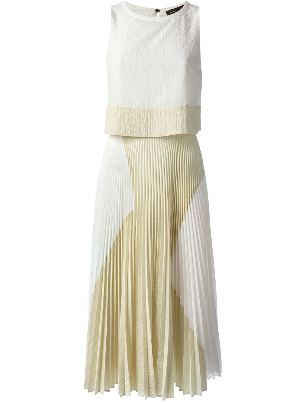 proenza schouler pleated skirt dress in beige