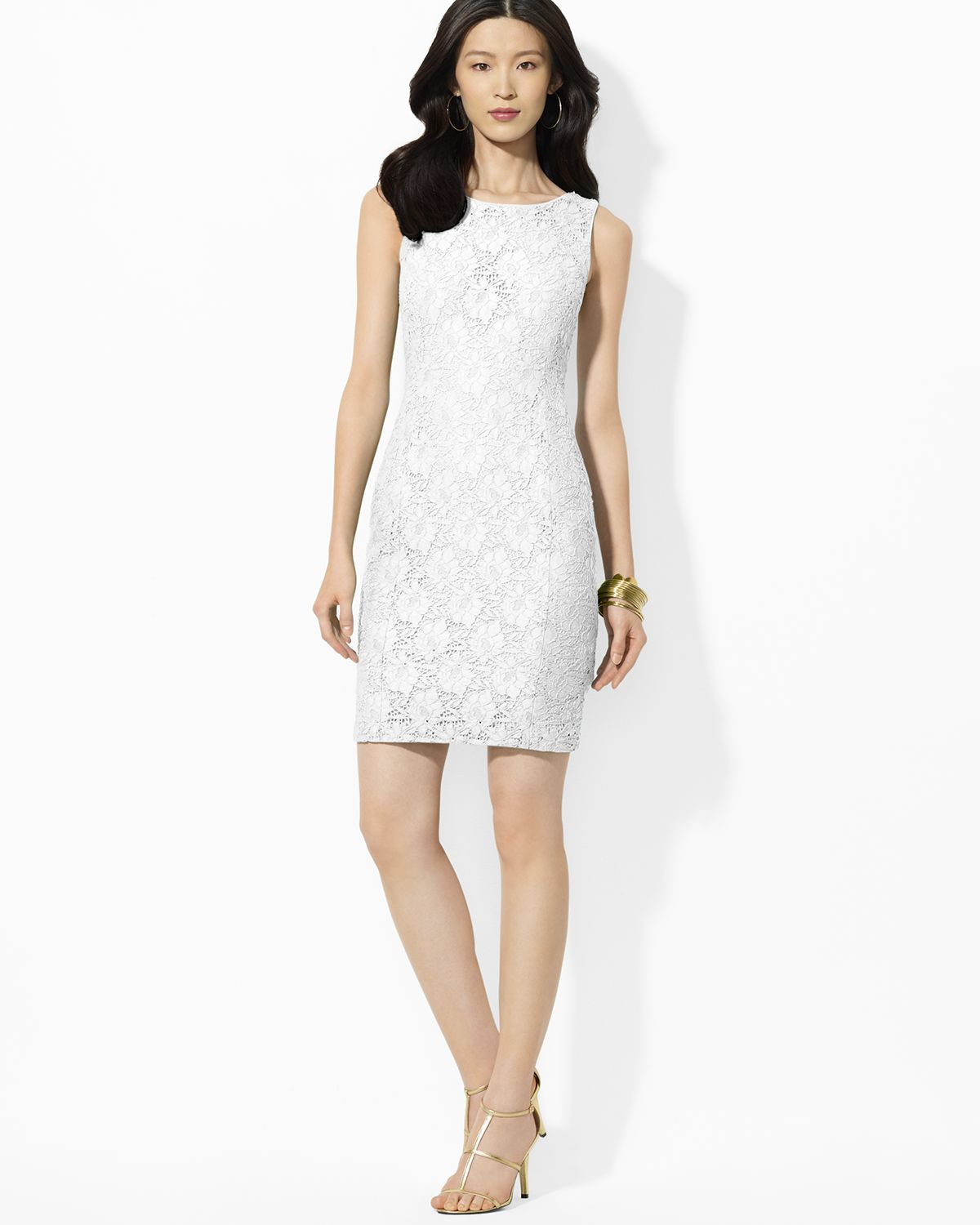 Ralph lauren Lauren Dress Sleeveless Lace Sheath in White | Lyst