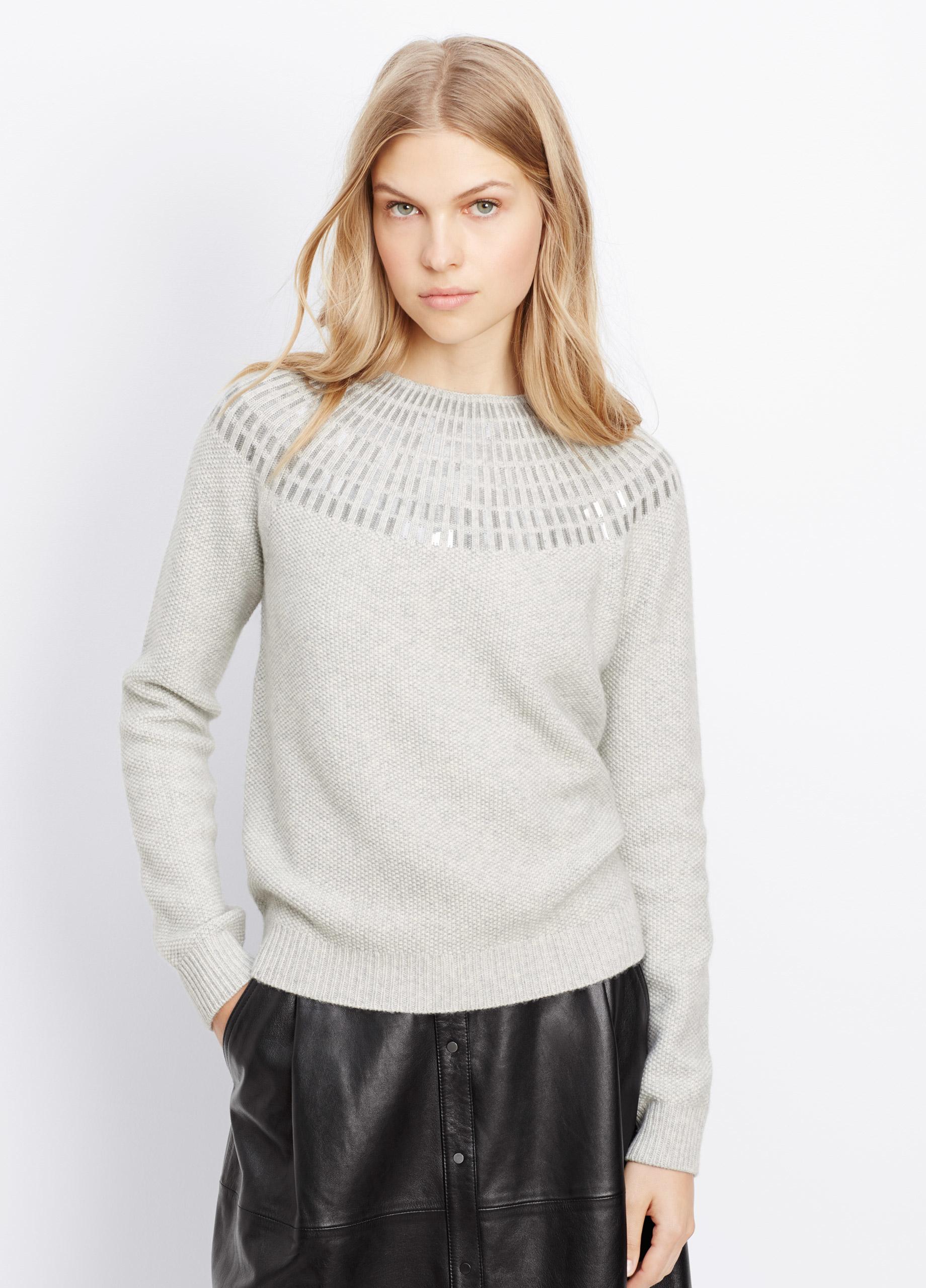 Lyst Vince Sequin Textured Crew Neck Sweater In Gray