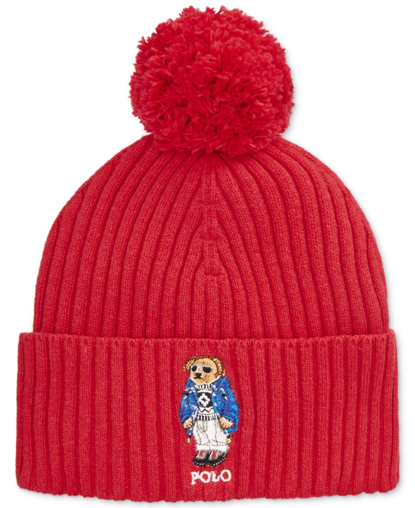 ffeeebe693d Lyst - Polo Ralph Lauren Ski Bear Pom-knit Cuffed Beanie in Red for Men
