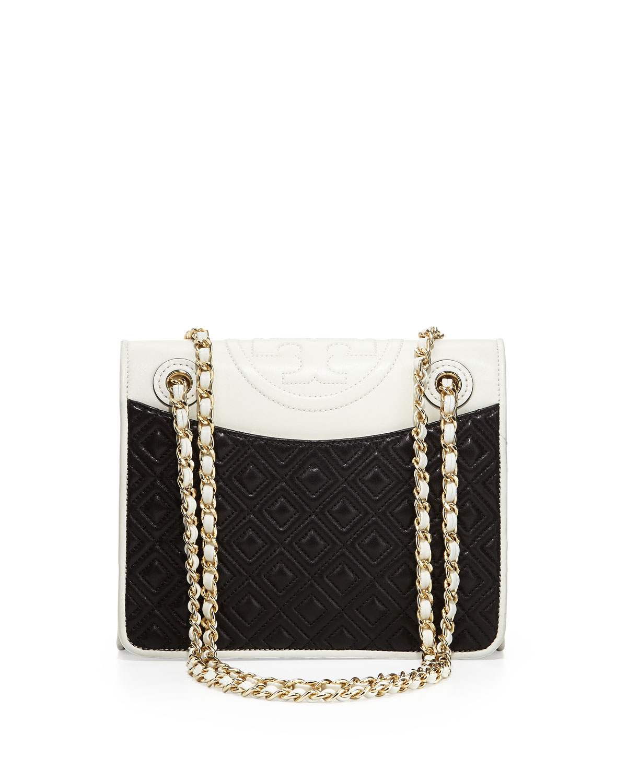 4ed29333c334 ... inexpensive lyst tory burch fleming medium quilted napa flap bag in  black 2c369 8887c