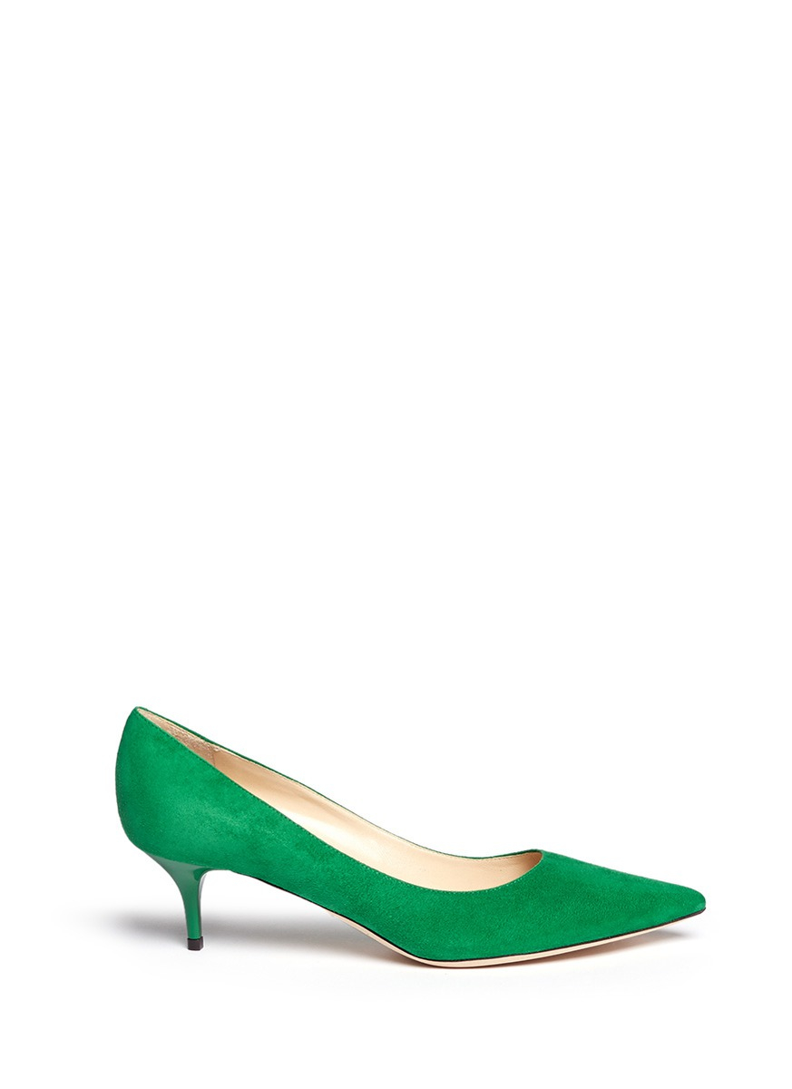112a2851b54 Jimmy Choo  aza  Suede Kitten Heel Pumps in Green - Lyst