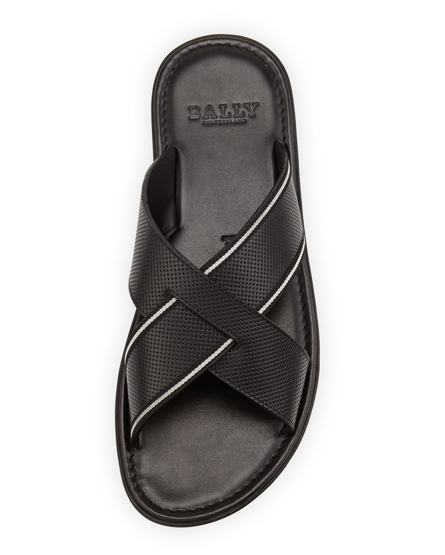 Lyst Bally Darlie Leather Crossed Sandal In Black For Men