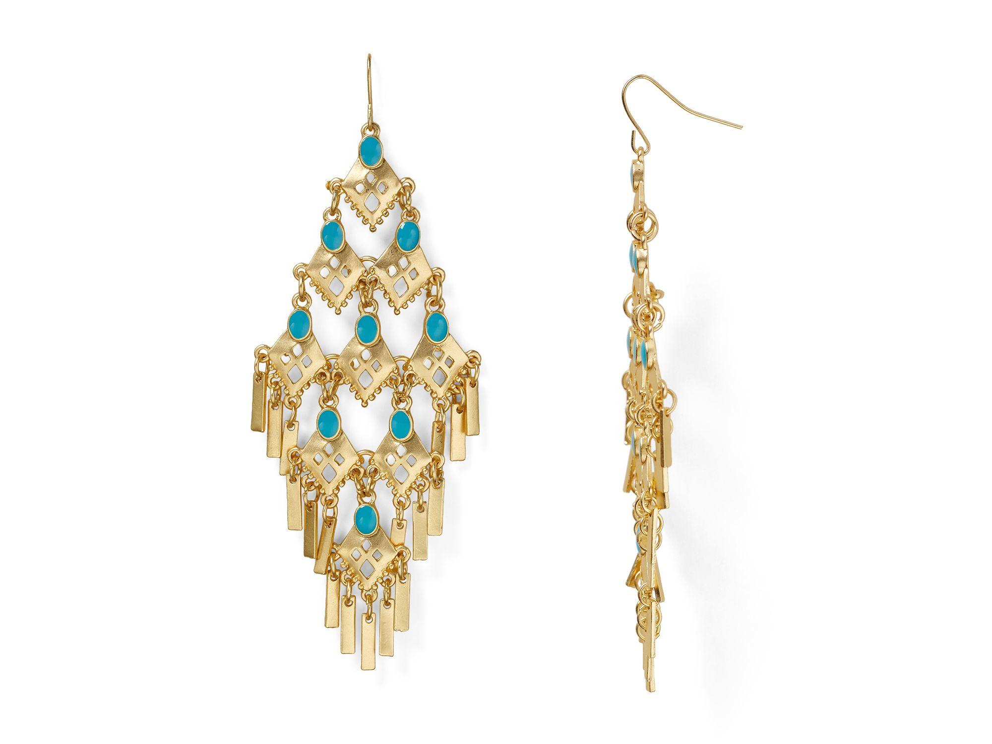 Aqua Chandelier Earrings In Gold