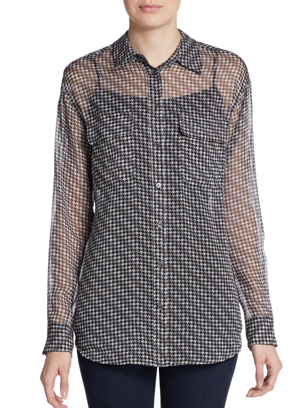 Equipment silk houndstooth print blouse in black black for Equipment black silk shirt