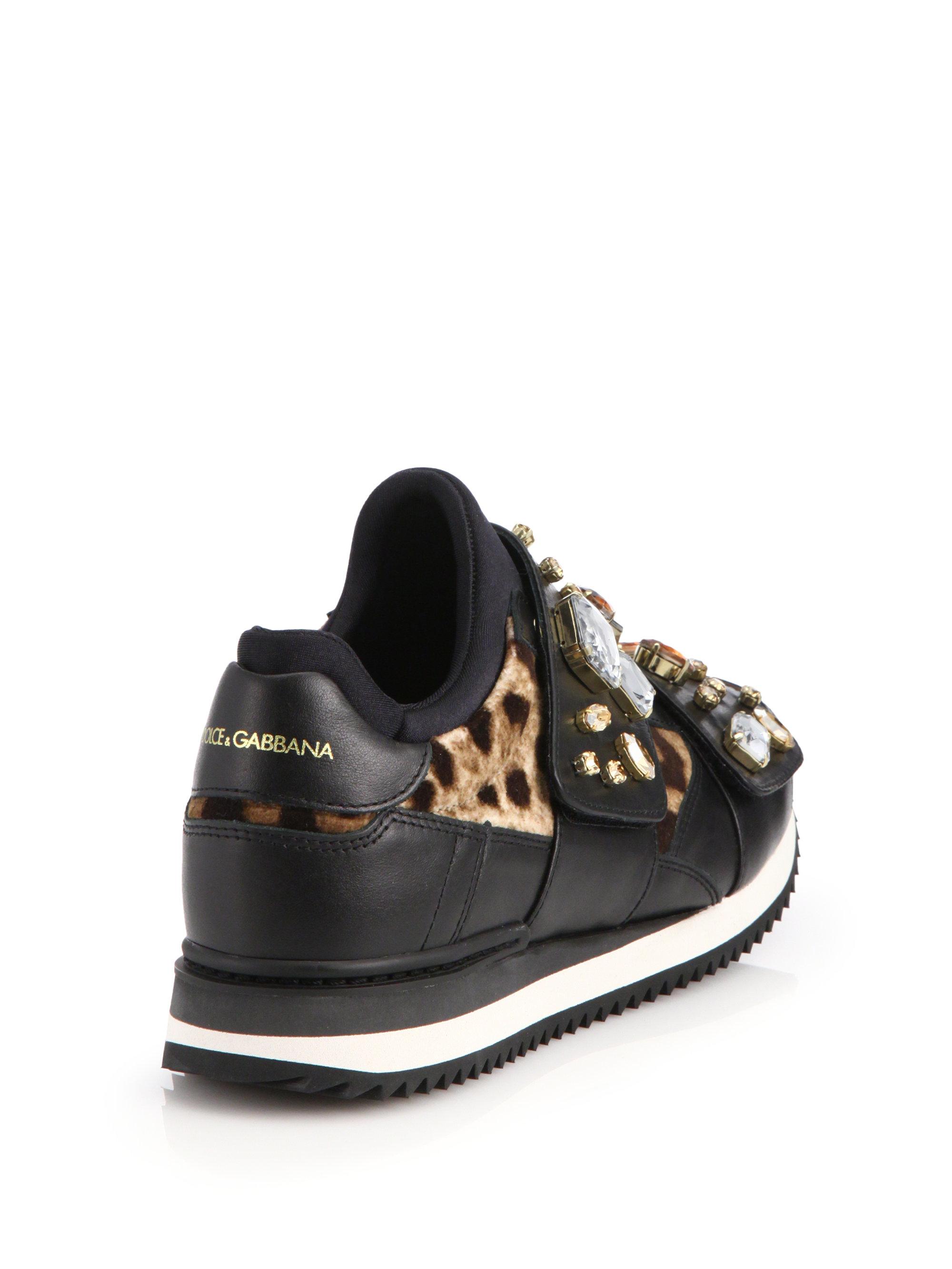 dolce gabbana jeweled leather leopard print velvet sneakers in black lyst. Black Bedroom Furniture Sets. Home Design Ideas