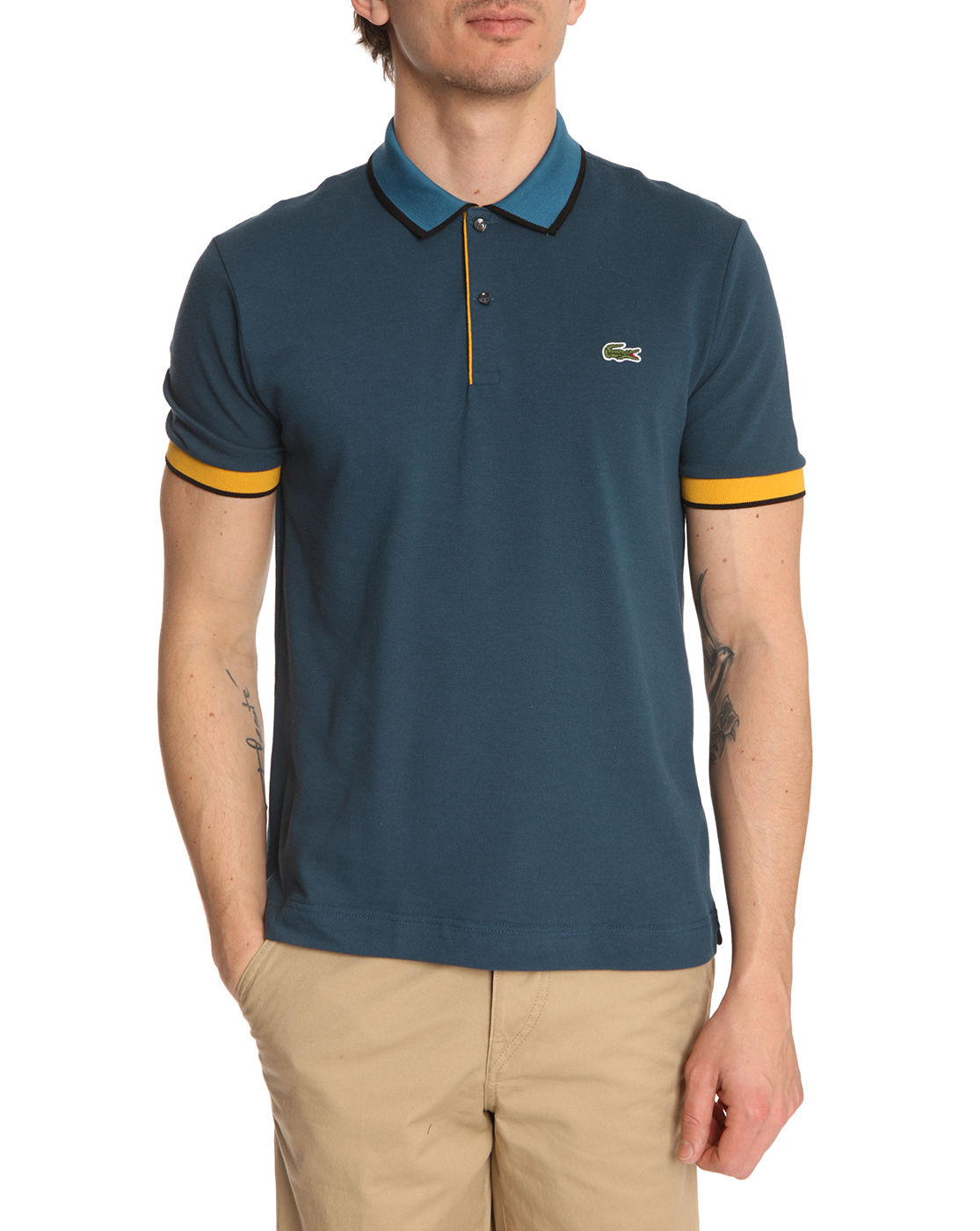 Lacoste L Ive Royal Blue Polo Shirt With Twotone Collar In