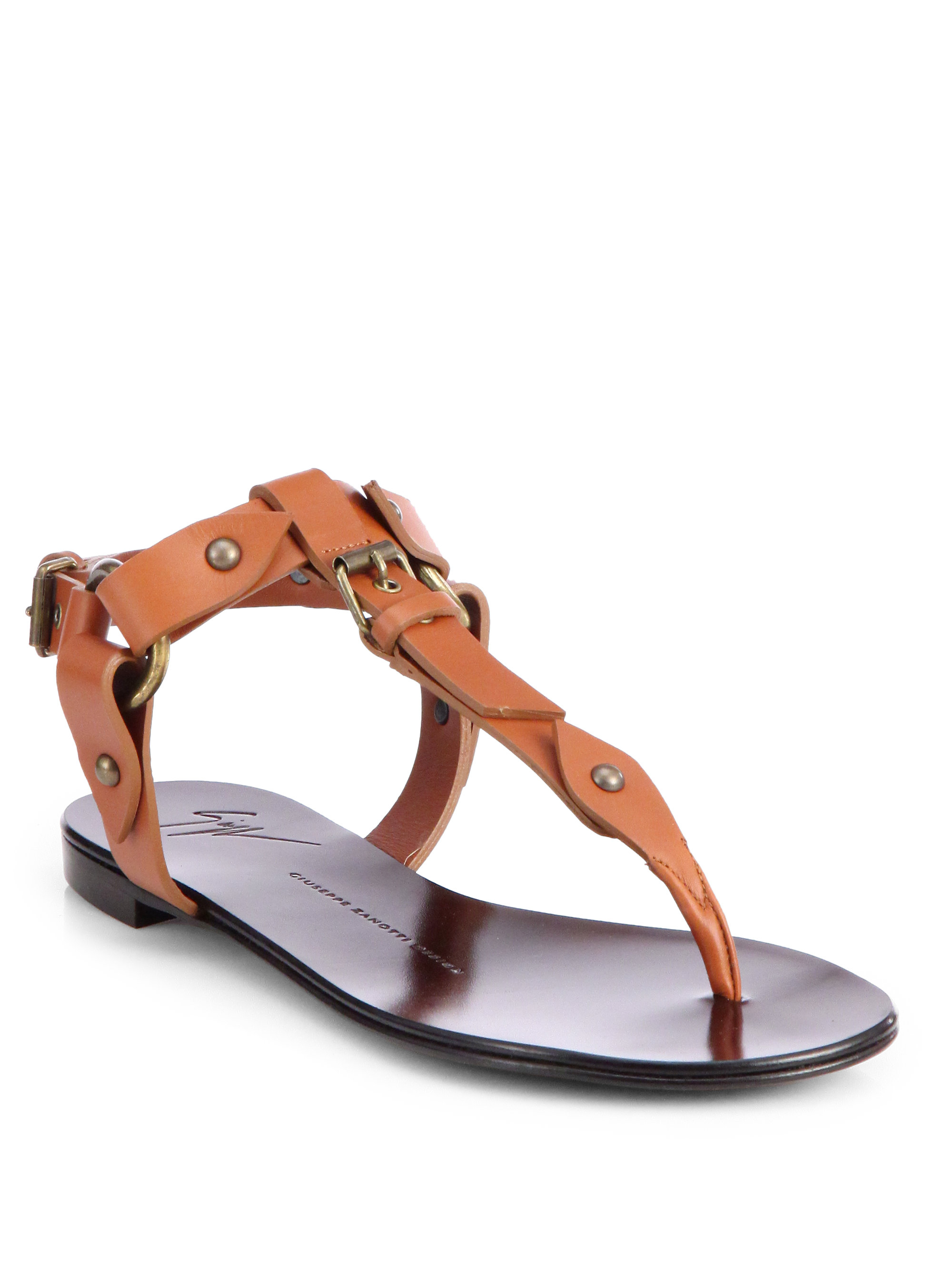 d3a63932b2c Lyst - Giuseppe Zanotti Buckle Thong Sandals in Brown