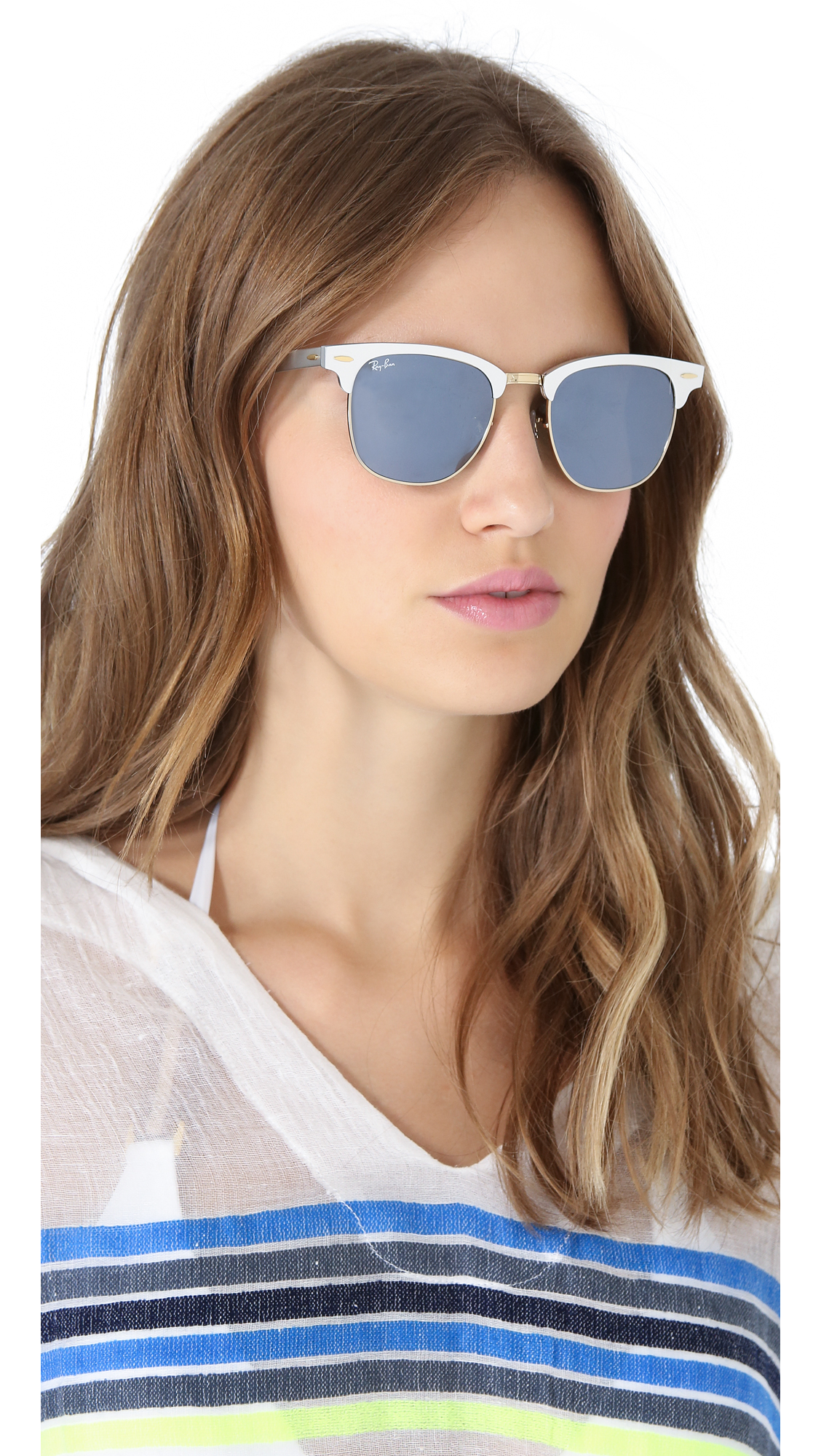 Lyst Ray Ban Oversized Clubmaster Sunglasses In Metallic