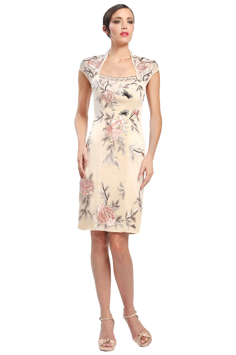 Sue wong gold floral embroidered dress lyst