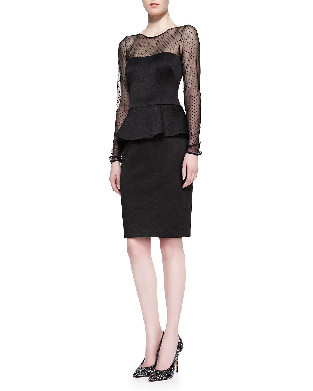 Lyst David Meister Longsleeve Peplum Cocktail Dress In Black