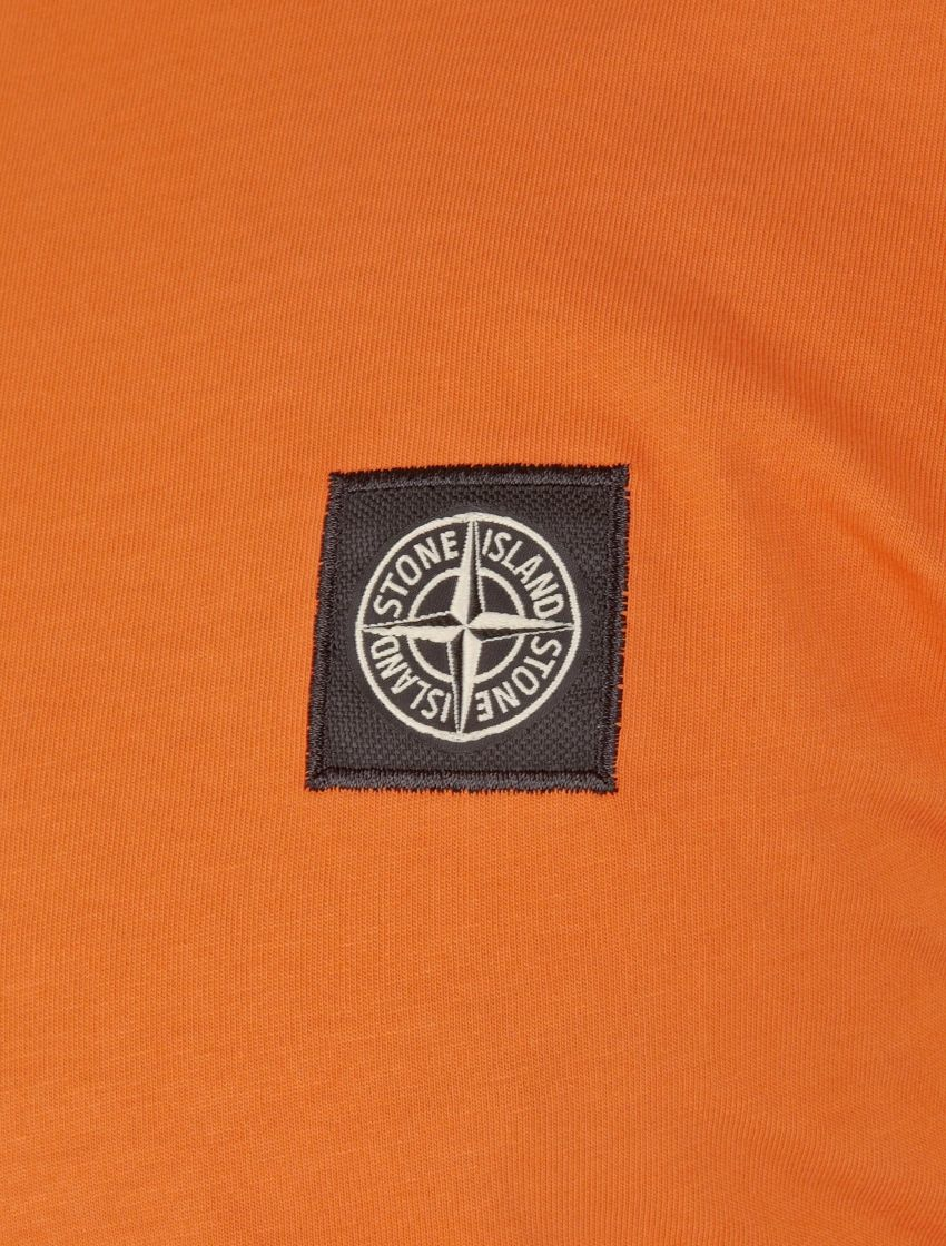 stone island orange patch logo t shirt in orange for men. Black Bedroom Furniture Sets. Home Design Ideas