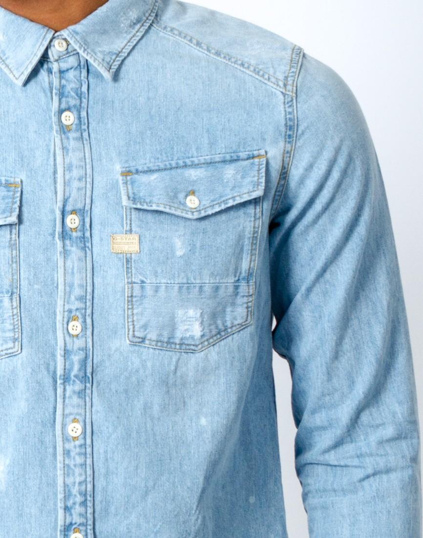 G Star Raw Coban Denim Long Sleeve Shirt In Blue For Men