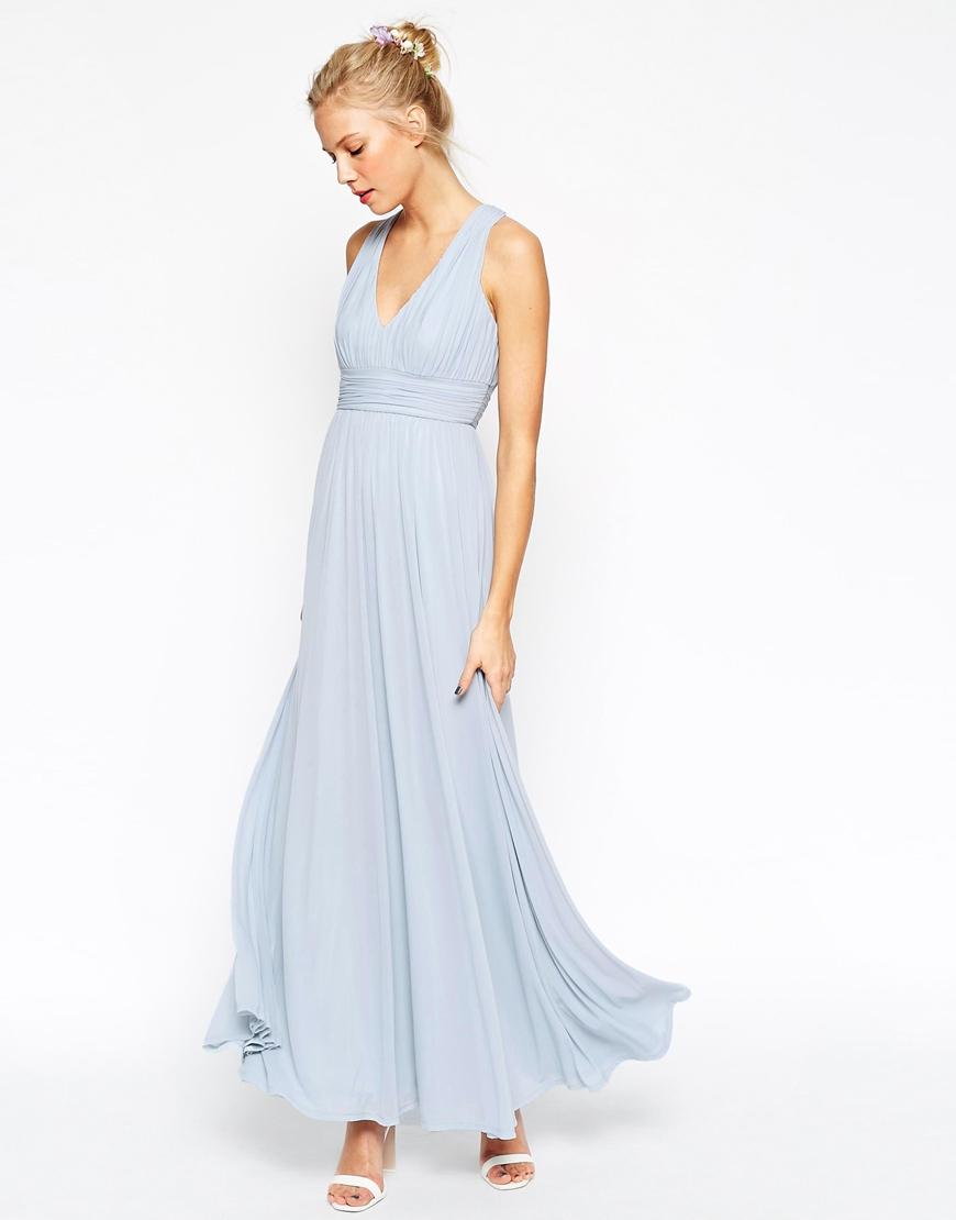 asos wedding v neck twist back maxi dress in blue lyst. Black Bedroom Furniture Sets. Home Design Ideas