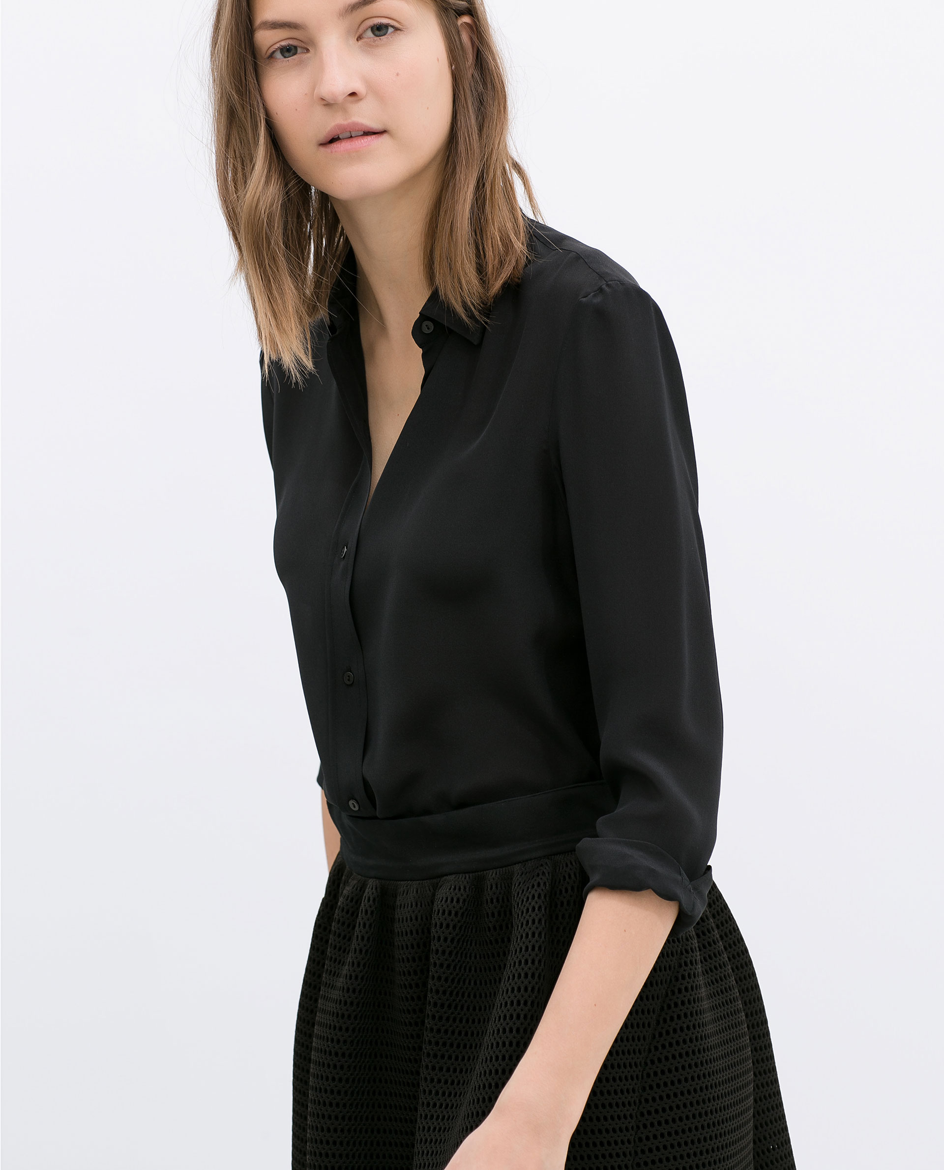 Zara Silk Blouse in Black | Lyst