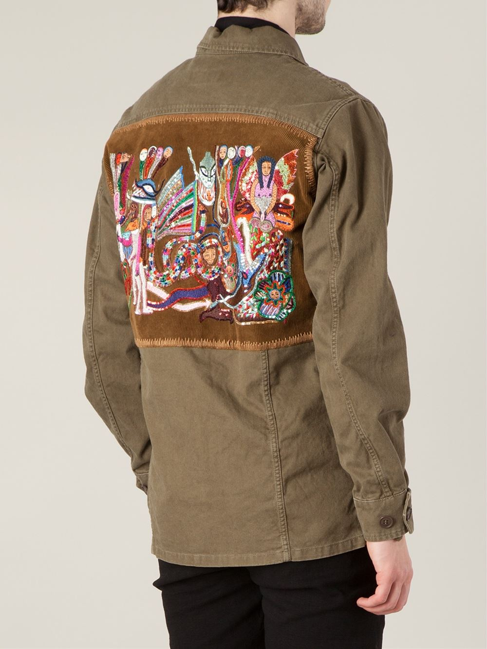 Lyst saint laurent embroidered military jacket in green