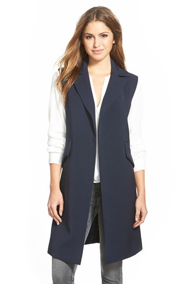 Lyst Ellen Tracy Long Sleeveless Jacket In Blue